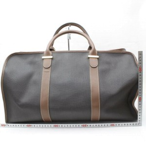 Alfred Dunhill Duffle Black/Brown Bicolor Boston 869987 Black/Brown Coated Canvas Weekend/Travel Bag