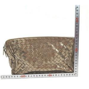 Bottega Veneta Gold Intercciato Leather Cosmetic Pouch 62380