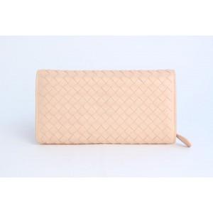 Bottega Veneta Fold-over Flap Wallet 5mz0828 Pink Leather Clutch