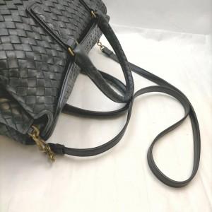 Bottega Veneta Black Intrecciato Leather Woven Boston Duffle Bag with Strap 862675