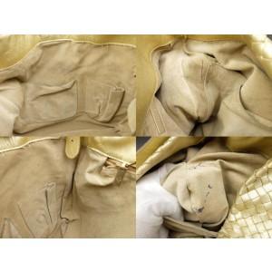 Bottega Veneta Metallic Gold Intrecciato Leather Woven Messenger Bag 858211