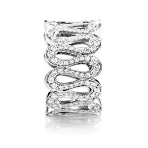 Boucheron 18K White Gold Wavy Diamond Band Ring