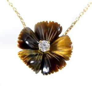 Boucheron 18K Yellow Gold Tiger's Eye & Diamond Pendant Necklace