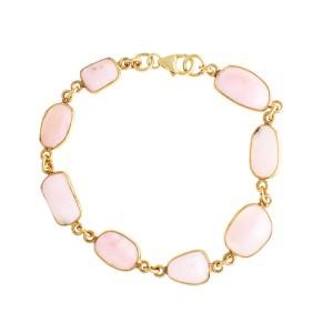 Rose Quartz Gold Plated Sterling Silver Bracelets