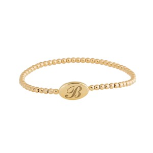 Rina Limor B engraved Gold Stretch Bracelet
