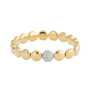 Rina Limor Gold Circle & Diamond Stretch Bracelet