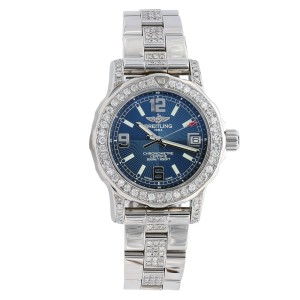 Breitling Colt 33 A7738711/C850 Blue Dial Stainless Steel Custom Diamond Watch
