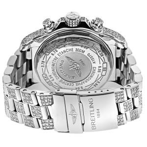 Breitling Super Avenger Watch Black Dial Model Custom Diamond Watch A13370