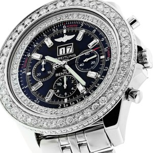 Breitling Bentley 6.75 Speed Mens Watch with Customized Diamond Bezel A4436412