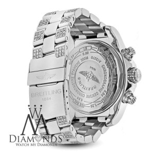 Breitling Super Avenger A13370 Stainless Steel Watch Customized with Genuine Diamonds