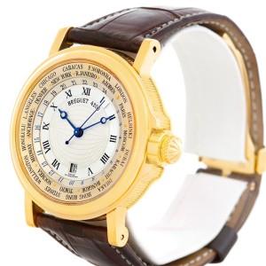 Breguet Marine World Time Hora Mundi 3700 18K Yellow Gold & Leather Automatic 38mm Mens Watch