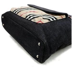 Burberry 872138 Nova Check 2way Tote Navy Blue Canvas Shoulder Bag