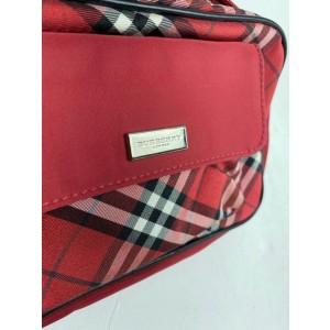 Burberry Belt Nova Check Fanny Pack Waist Pouch 8burb610 Red Nylon Cross Body Bag