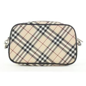 Burberry Blue Label Beige Nova Check Wristlet Pouch Bag 441bur61