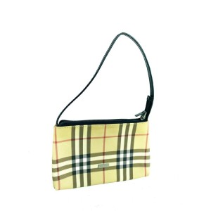Burberry Clutch Nova Check Pochette 19bur610 Beige Coated Canvas Wristlet