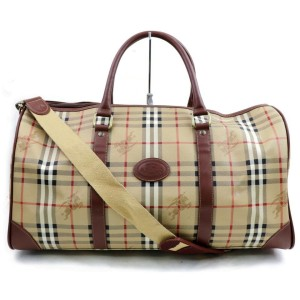 Burberry Duffle 872017 Nova Check Boston with Strap Light Brown Coated Canvas Weekend/Travel Bag
