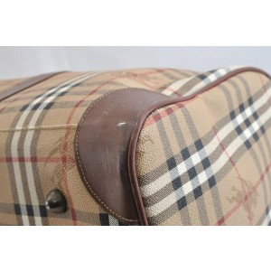 Burberry Duffle Boston with Strap Nova Check 872425 Beige Coated Canvas Weekend/Travel Bag
