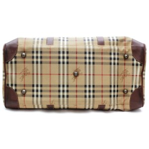 Burberry Duffle Boston with Strap Nova Check 872496 Beige Coated Canvas Weekend/Travel Bag