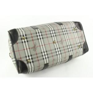 Burberry Grey Nova Check Boston Duffle Bag with Strap 518bur68