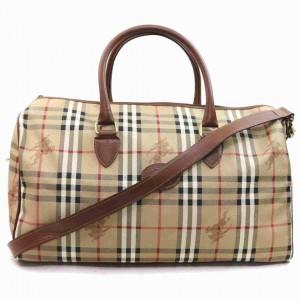 Burberry Beige Nova Check Boston Duffle Bag with Strap 868461