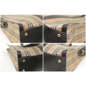 Burberry Link Haymarket Tote Chain Nova Check 21bk1203 Beige Canvas Shoulder Bag
