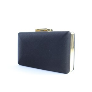 Burberry Prorsum Evening Bag Kisslock 8bur0509 Black Satin Clutch