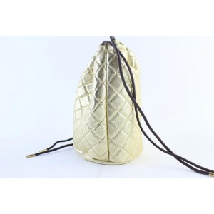 Burberry Quilted Metallic Shoe Pouch 25bur0702 Gold Nylon Backpack