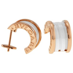 Bulgari B Zero. 1 18K Rose Gold & White Ceramic OR855943 Earrings