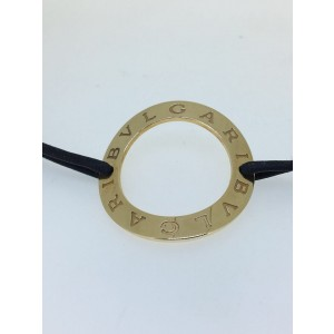 Bvlgari 18K Yellow Gold Leather Strap Bracelet 340900