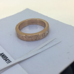 Bvlgari Bulgari 18K Rose Gold and Diamond Band Ring AN854185