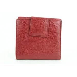 BVLGARI Red Leather Compact Flap Wallet 675bvl318