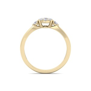 GLAM ® Halo Engagement Ring with Sidestones in 18K Gold and 0.33ct Diamonds