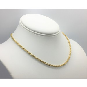 14K Yellow Gold Solid Rope Chain Necklace
