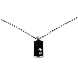 David Yurman 925 Sterling Silver Small Dog Tag Necklace