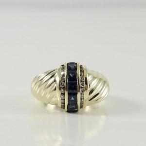 David Yurman 14K Yellow Gold Sapphire Diamond Princess Shrimp Dome Ring
