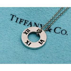 TIFFANY & Co. silver small atlas round circle pendant Necklace