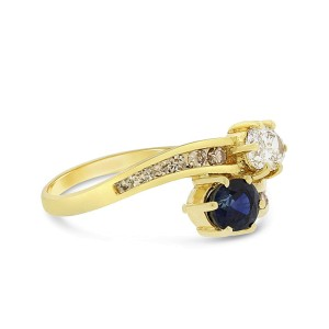 18k Yellow Gold 1.05tcw Natural Diamond & Sapphire Bypass Fashion Ring Size 6.5