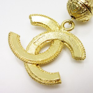 Chanel Gold Tone Metal CC Logo Pendant Necklace