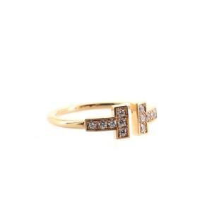 Tiffany & Co. T Wire Ring 18K Rose Gold with Diamonds 5