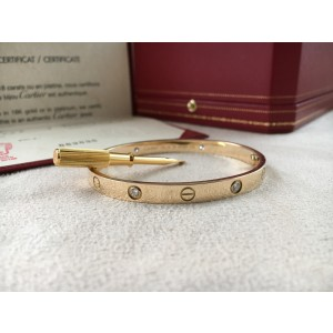 Cartier Love18K Yellow Gold 4 Diamond Bracelet Size 18