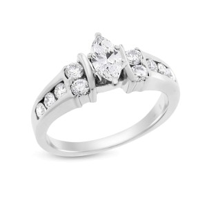 14k White Gold 0.70 Ct. Natural Marquise Cut Diamond Engagement Ring Size 7