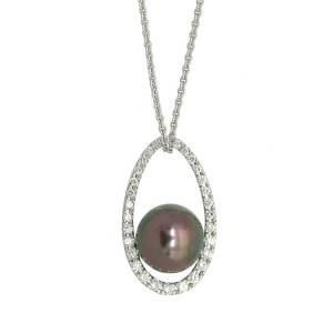 18k white gold/Diamond/Black South Sea pearl Necklace