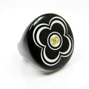 Chanel Plastic Camelia & Coco Mark Ring Size 6