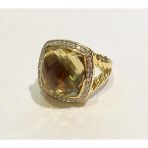 David Yurman Albion Ring 18k Yellow Gold Champagne Citrine and Diamonds Size 7
