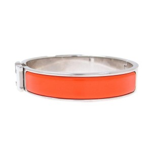 Hermes Silver-Tone Orange Click Rack Bangle Bracelet