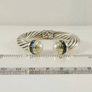 David Yurman Sterling Silver 14K Yellow Gold 10mm Mabe Pearl Blue Topaz Princess Bracelet