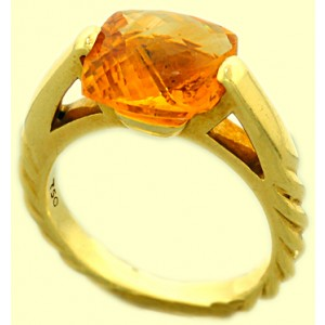 David Yurman 18K Yellow Gold Citrine Fashion Deco Ring