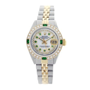 Rolex Datejust 6917 Two-Tone Mother of Pearl Diamond Dial & Emerald 26mm Womens Watch