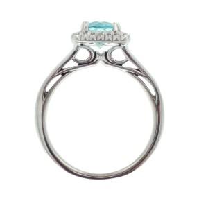 Ritani 18k White Gold Blue Topaz .13ctw Diamond Ring Size 6.5