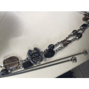 Chanel Classic Argent Silver Tone and Stones CC Logo Necklace